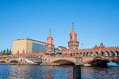 Berlin Germany - April 21. 2018: The Oberbaum bridge on river Spree