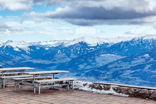 The observation deck with views of the Alps