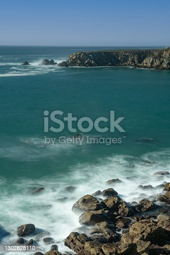 Ocean viewed from Fort Ross, Sonoma County, USA, near Salt Point, on a blue sky day without clouds, typical of the California Coast