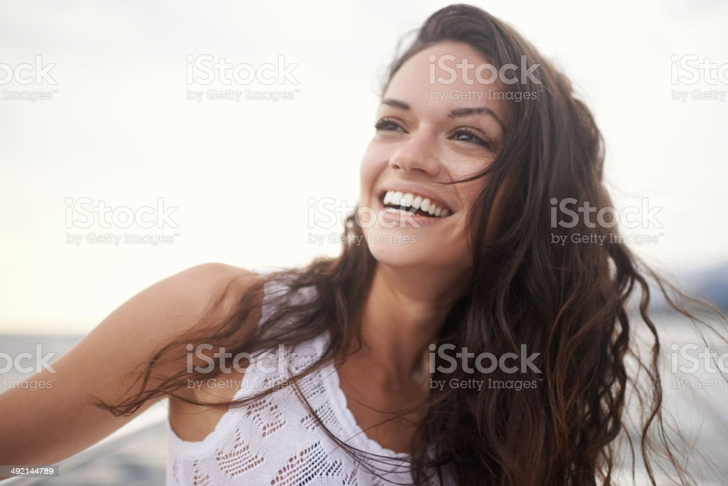 The ocean breeze is so rejuvenating stock photo