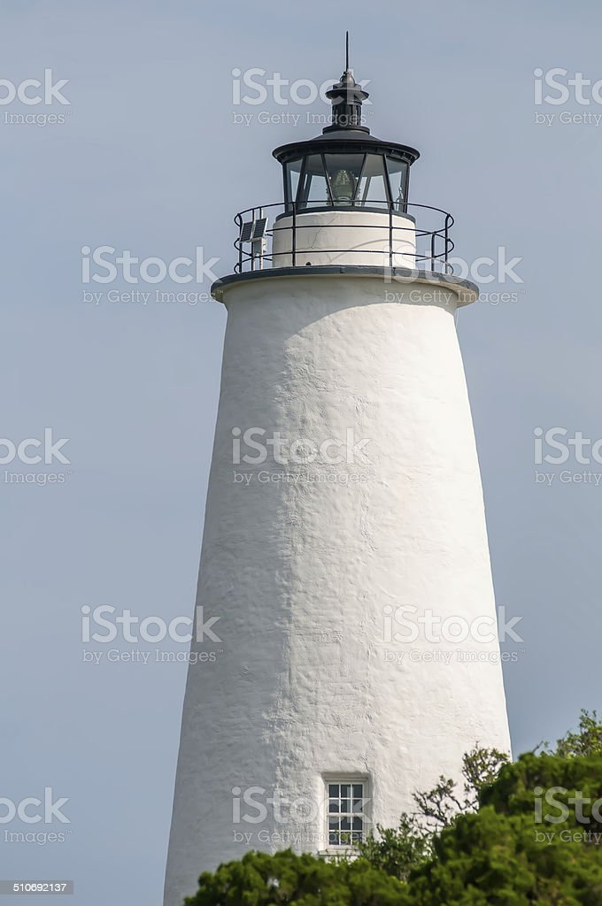 The Ocracoke Lighthouse and Keeper's Dwelling on Ocracoke Island stock photo