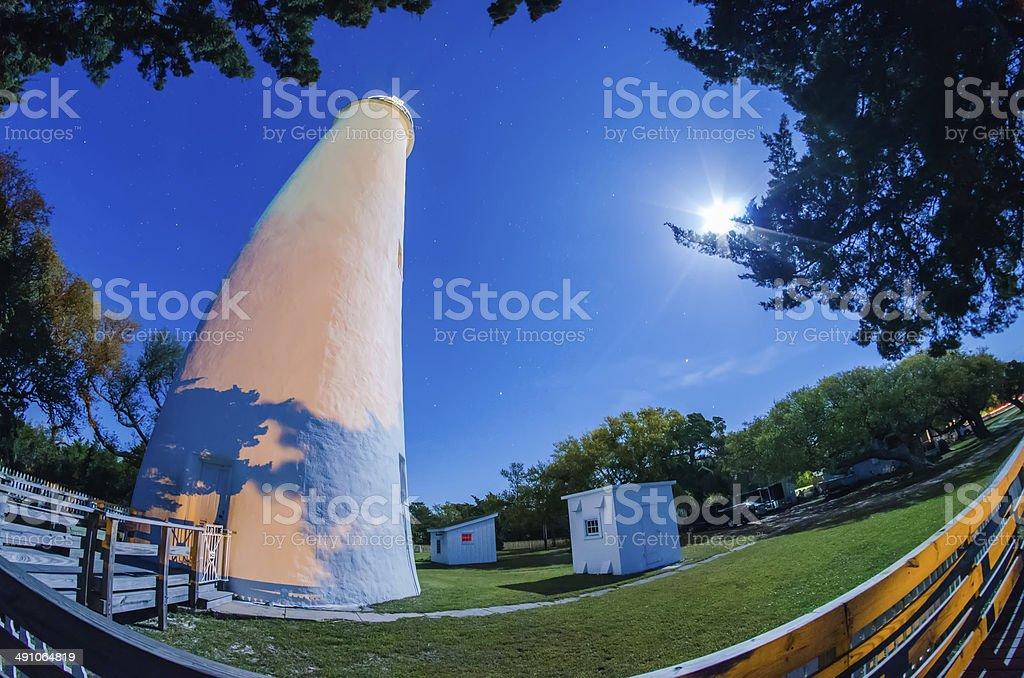 The Ocracoke Lighthouse on Ocracoke Island on the North Carolina stock photo