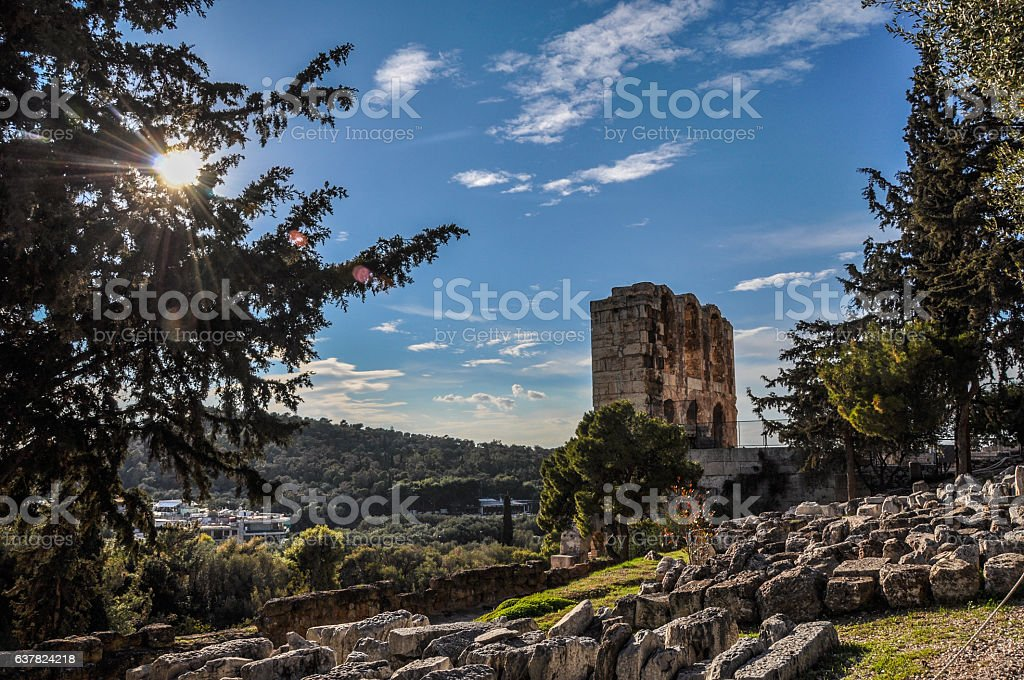 The Odeon of Herodes Atticus in Athens stock photo