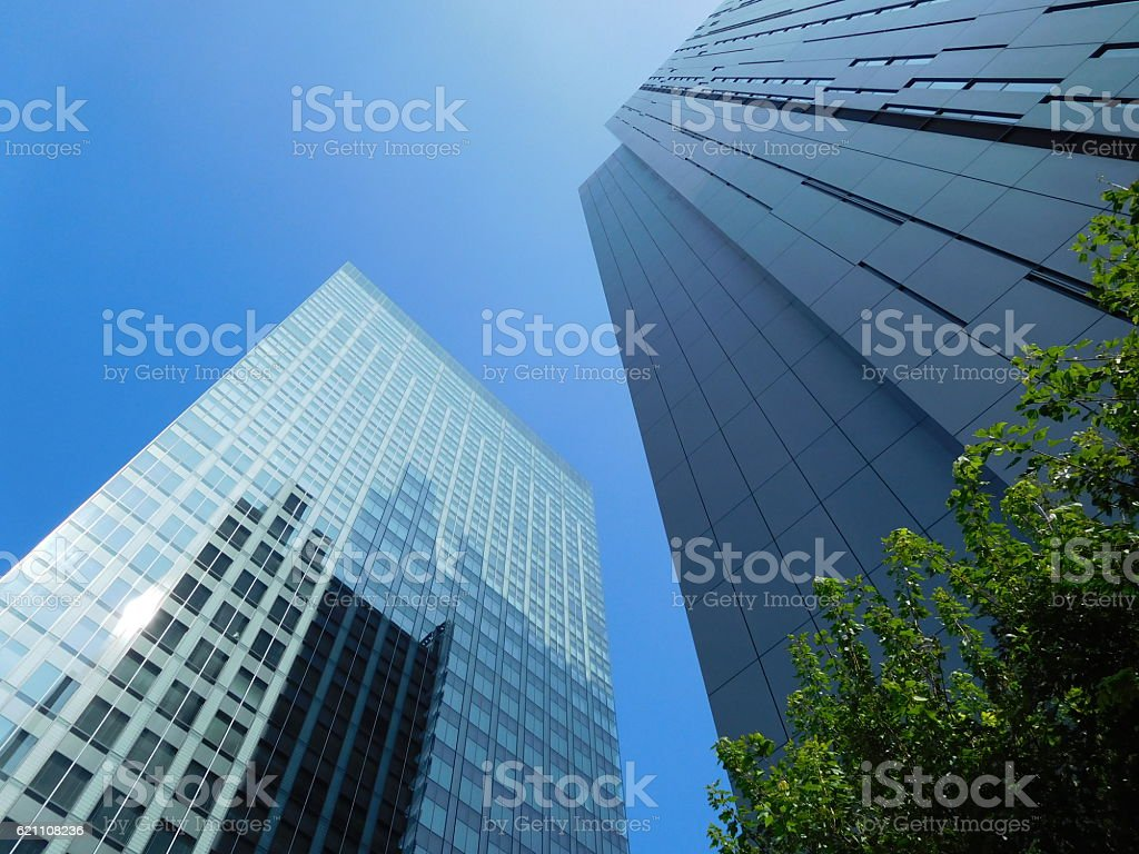 The office buildings under the blue sky with trees stock photo