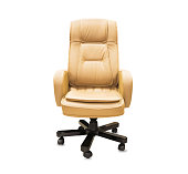 istock The office chair from beige leather. Isolated over white 1149724926