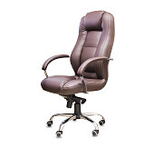 istock The office chair from brown leather. Isolated over white 1149724938
