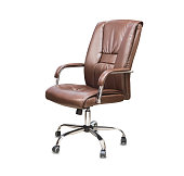 istock The office chair from brown leather. Isolated over white 1149724940