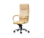 istock The office chair from yellow leather. Isolated 1080290490