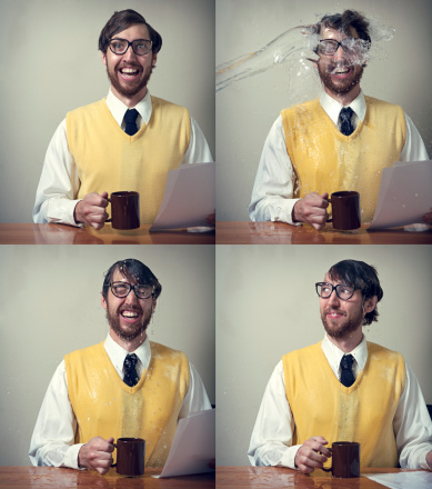 A sequence of images depicting a vintage looking 1970's business man sitting at his desk when suddenly he is doused with a large splash of water.