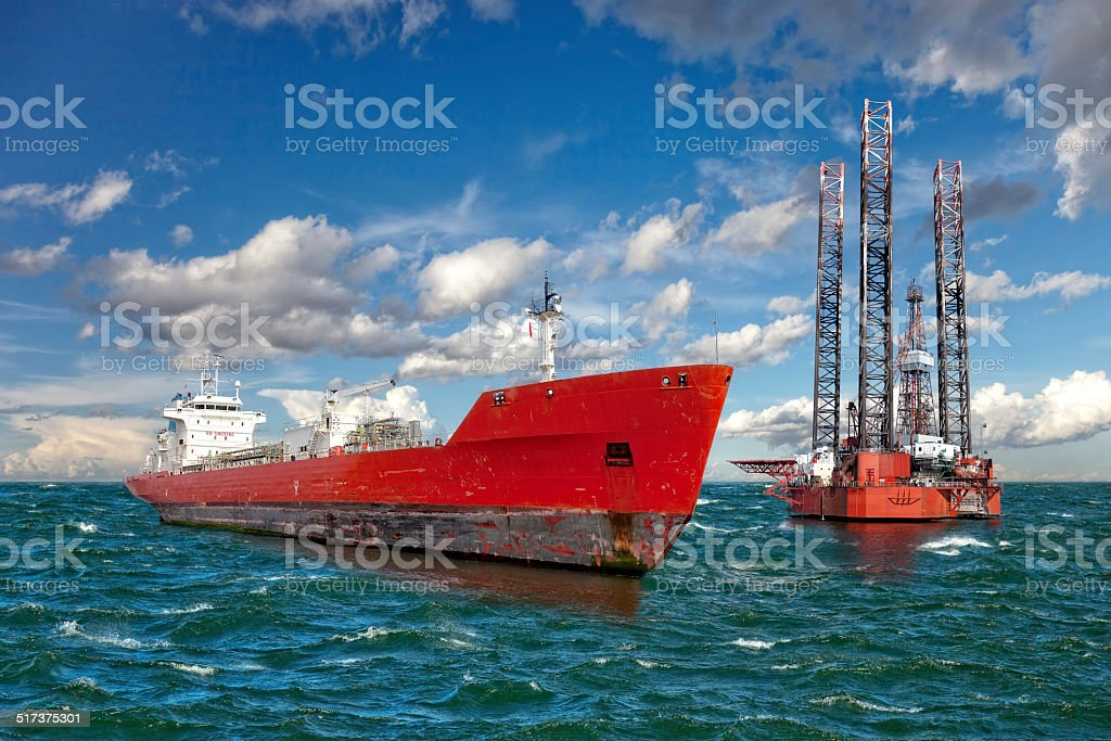 The offshore drilling oil rig stock photo