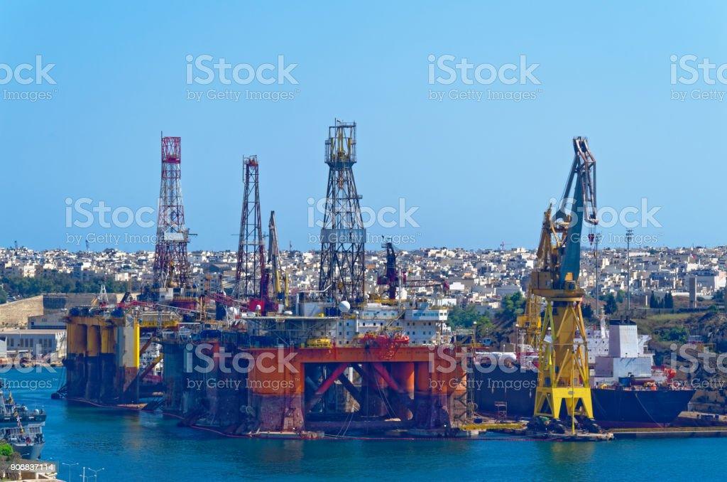 The Oil and gas platform in a bay of Valletta, Malta stock photo