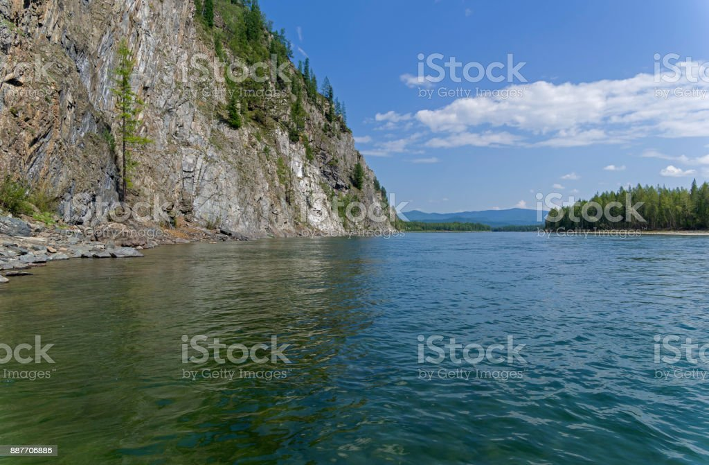 The Oka Sayanskaya River. Siberia, Russia. stock photo