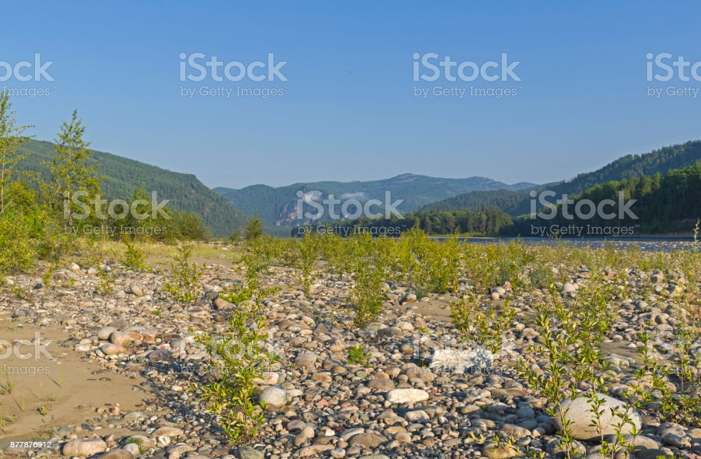 The Oka Sayanskaya River valley. Siberia, Russia. stock photo