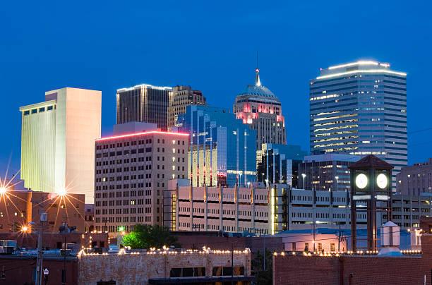 The Oklahoma City skyline at dusk stock photo