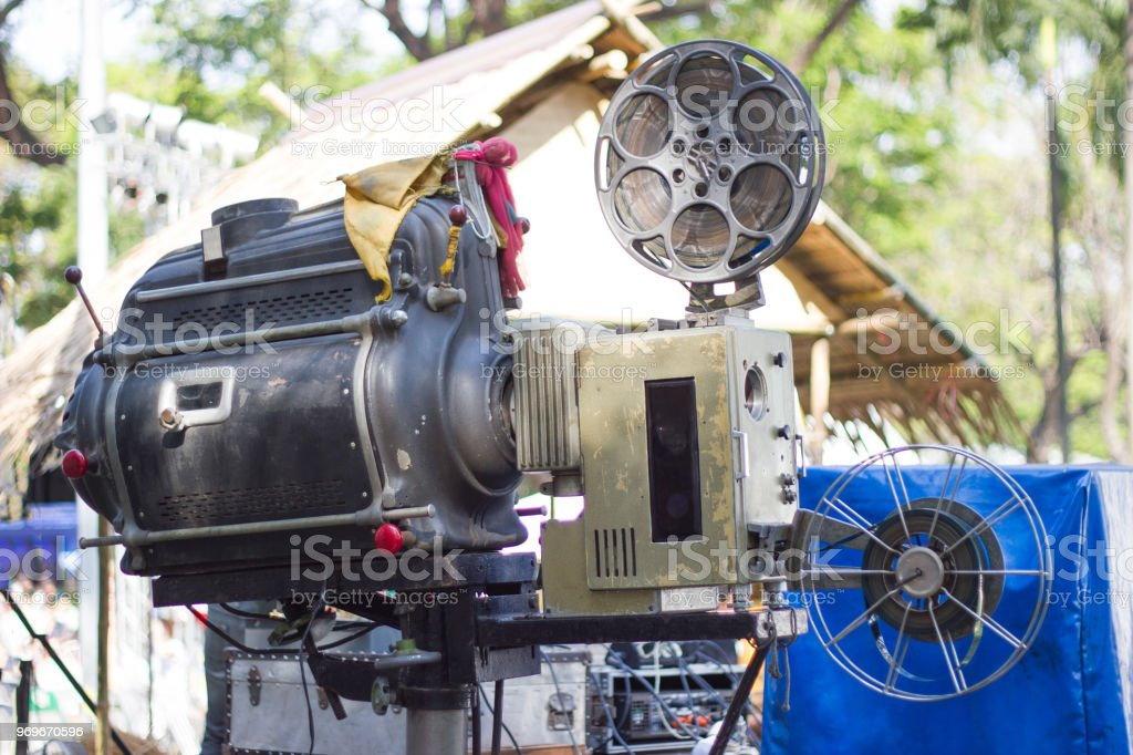The Old Analog Rotary Film Movie Projector At Outdoor Cinema