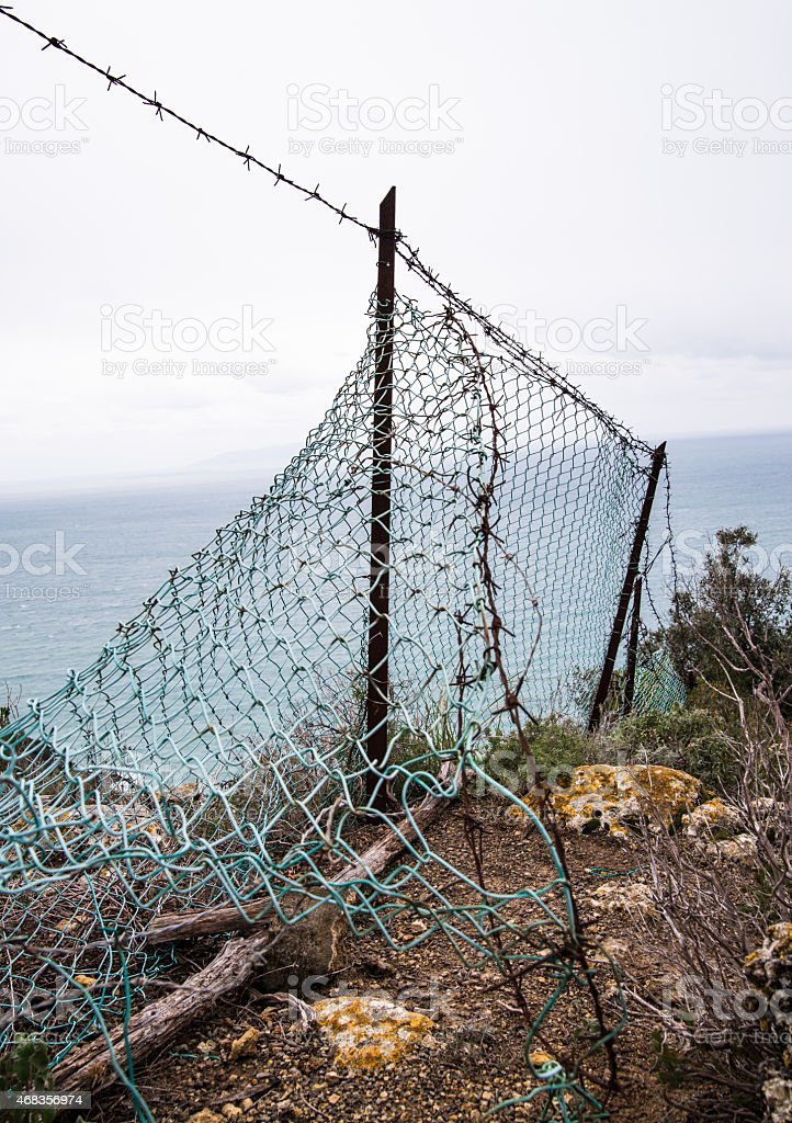 The old barrier in the nature royalty-free stock photo