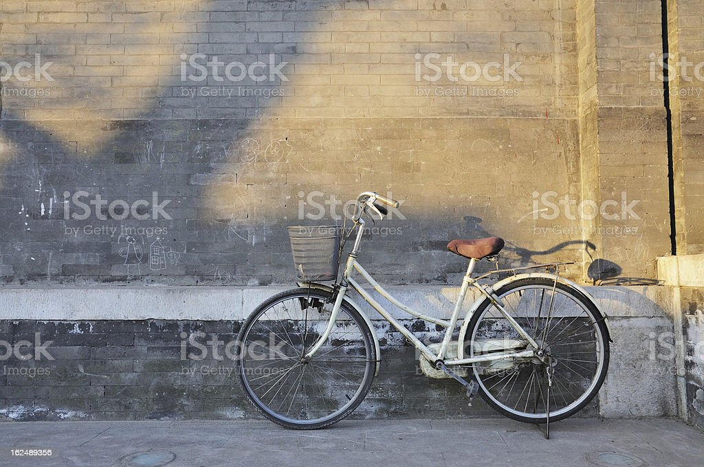 The old Beijing Hutong bike royalty-free stock photo