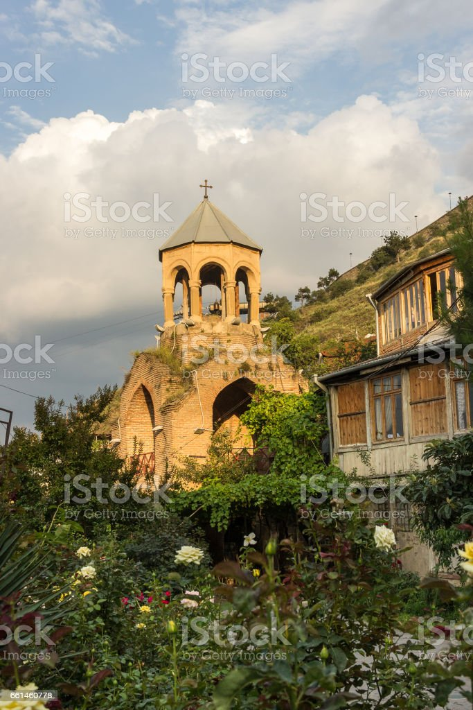 The old Bell Tower in Tbilisi stock photo