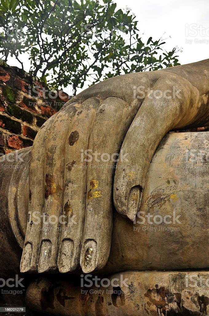 The Old Big Hand Buddha at Wat Yaichaimongkol Temple Ayutthaya royalty-free stock photo