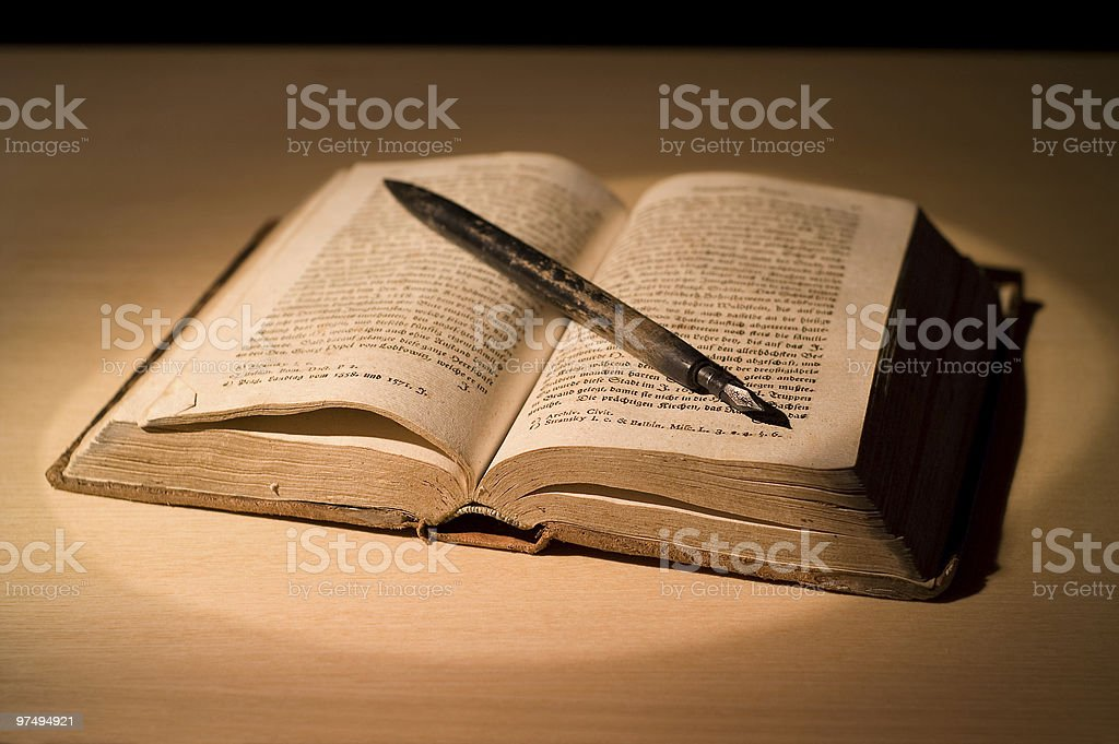 The old book with pen. royalty-free stock photo