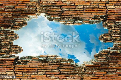 istock The old brick walls are broken and see the sky 473923778