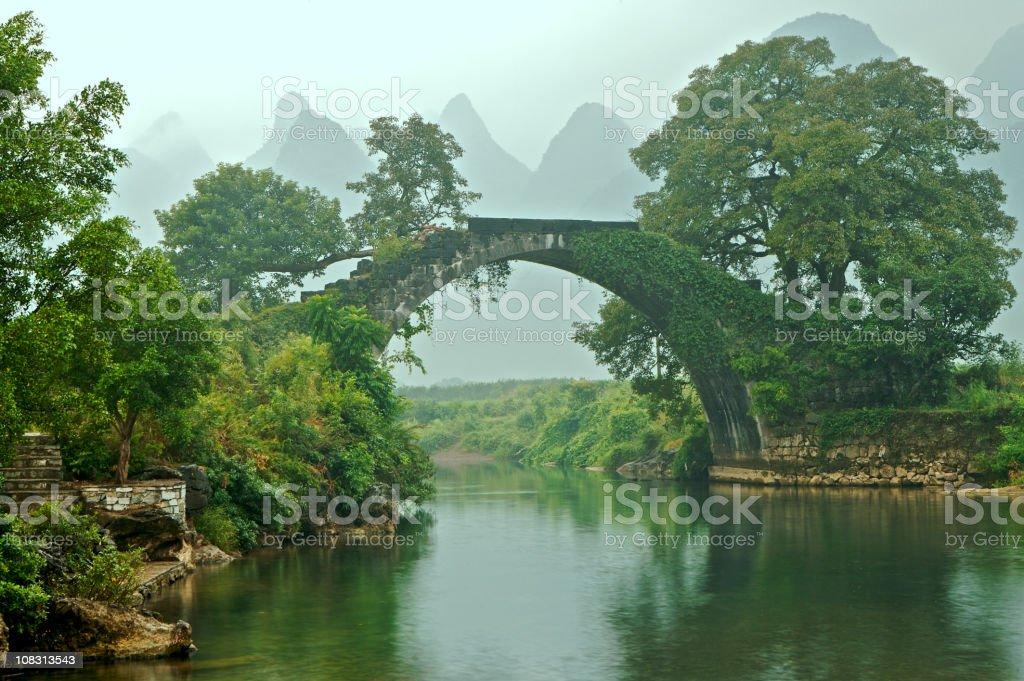 The Old Bridge at Fuli Village royalty-free stock photo