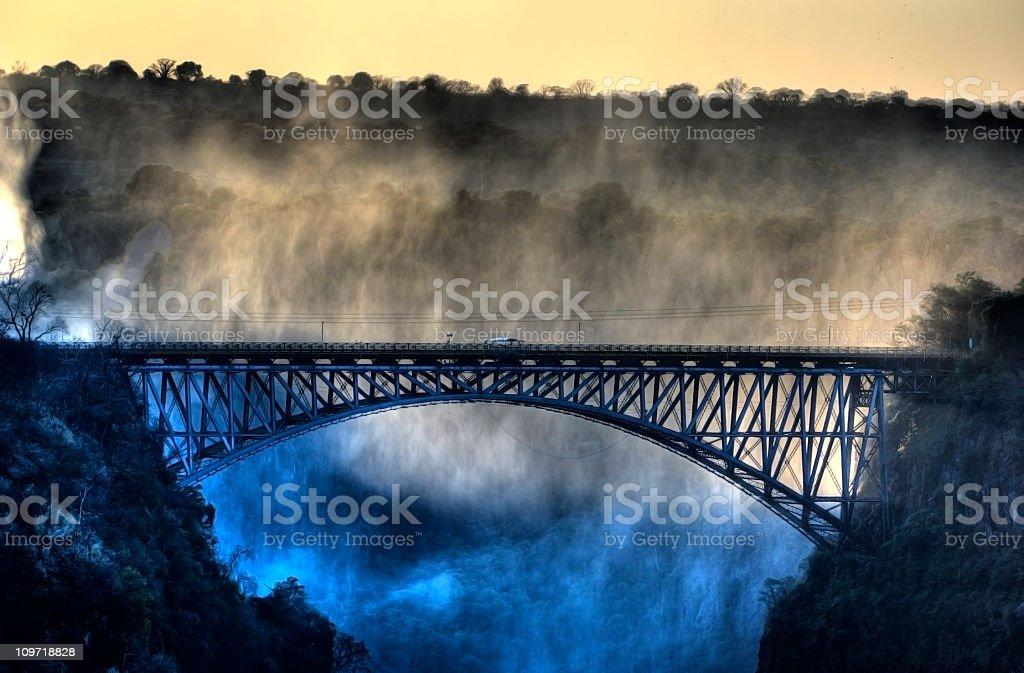 The old bridge at Victoria Falls royalty-free stock photo