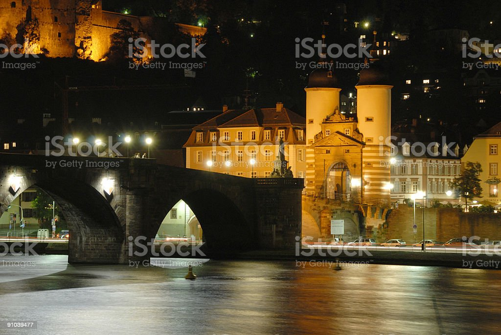 The old bridge in Heidelberg by night royalty-free stock photo