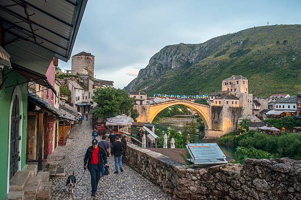 The old bridge of Mostar, Evening stock photo