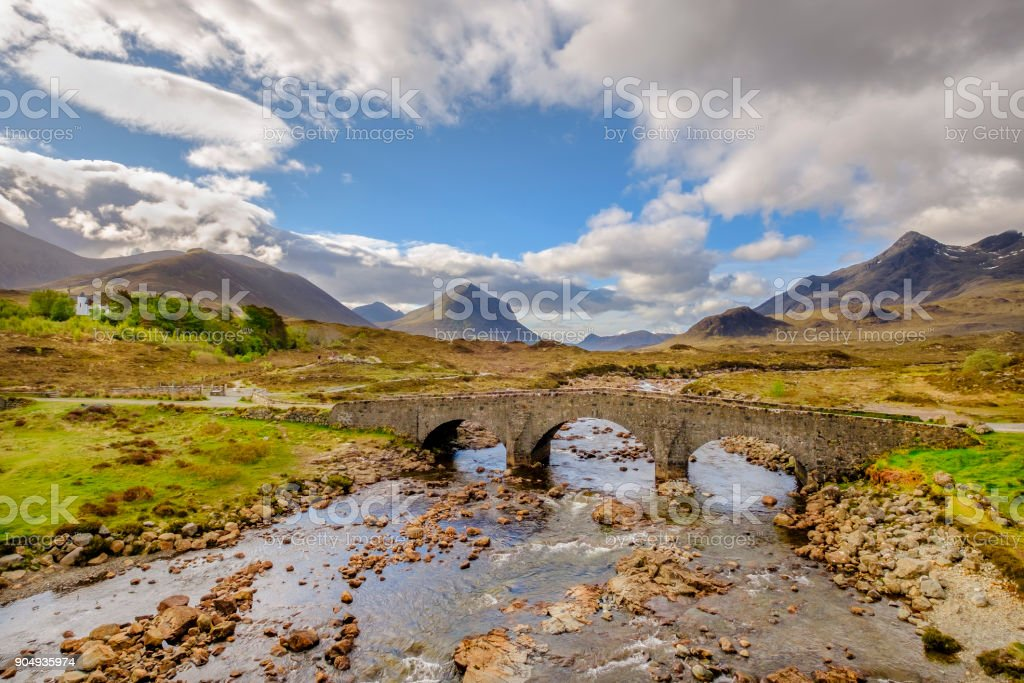 The old bridge of Sligachan with the rocky mountains of Cuillin on the background is one of the iconic images of Skye, the largest and northernmost of the major islands in the Inner Hebrides of Scotland stock photo