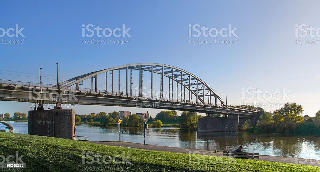 The old bridge over the river Rhine of Arnhem. foto
