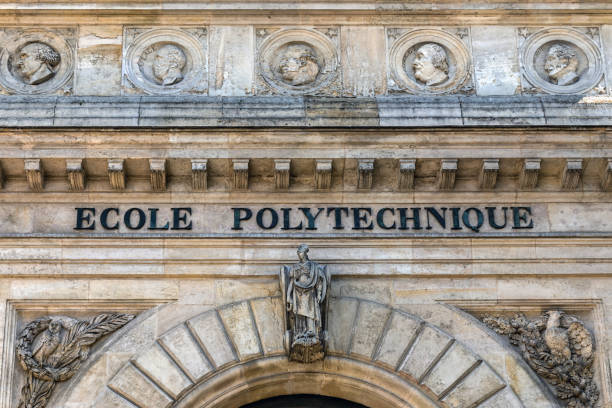 The old building of the Ecole Polytechnique in Paris Paris, France - September 02 2019: The facade of the old building of the Ecole Polytechnique at La montagne Sainte-Genevieve. ecole stock pictures, royalty-free photos & images