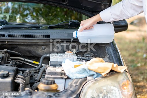 istock The old car has a heat problem. 1156944448