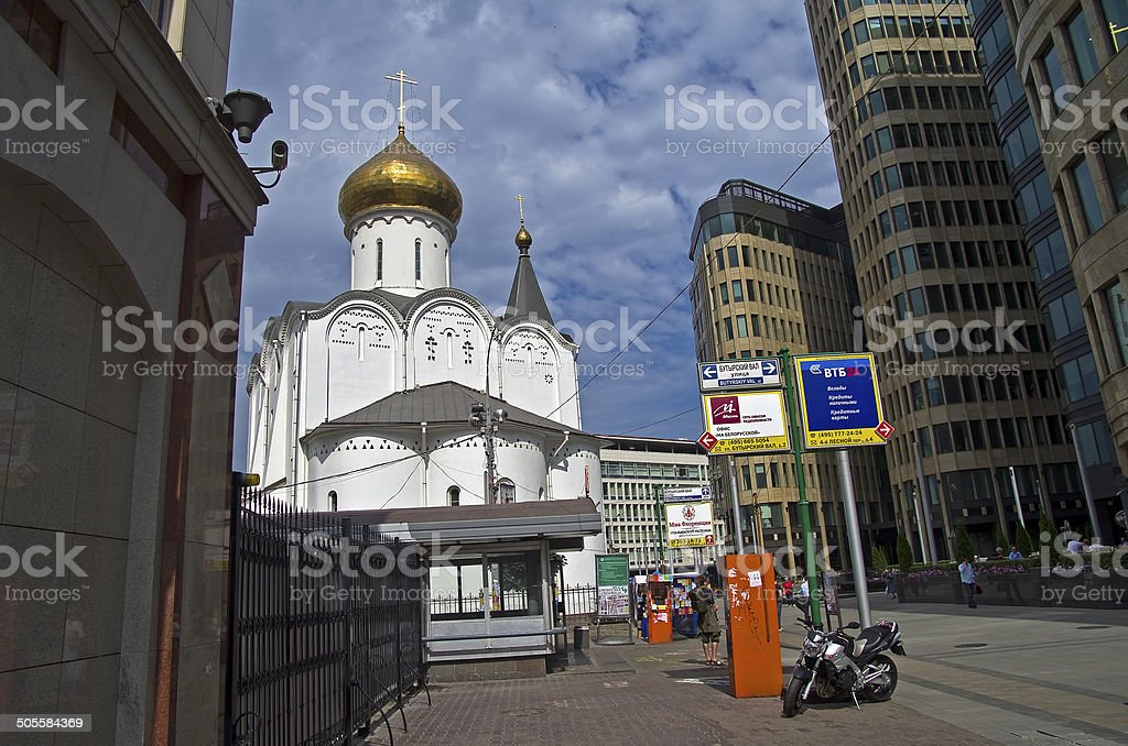 The old church and the new business center. stock photo