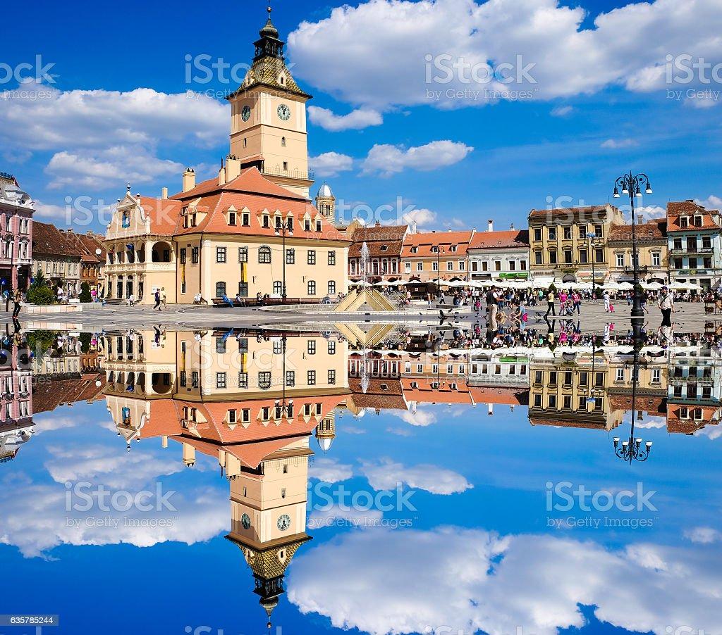 BRASOV, TRANSYLVANIA, ROMANIA. The old city center called Piata stock photo
