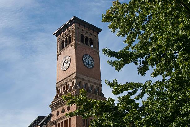Old Tacoma City Hall Clock Tower stock photo