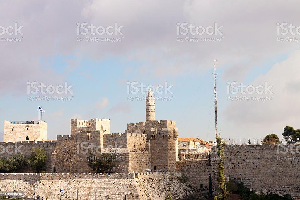 The old city Jerusalem, Tower of David stock photo