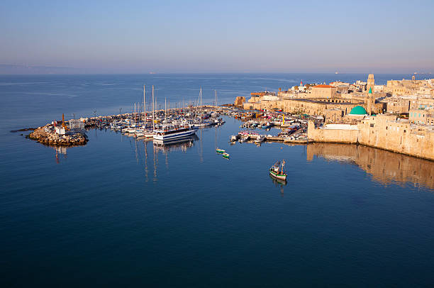 The old city port / marina of Akko, Israel. stock photo