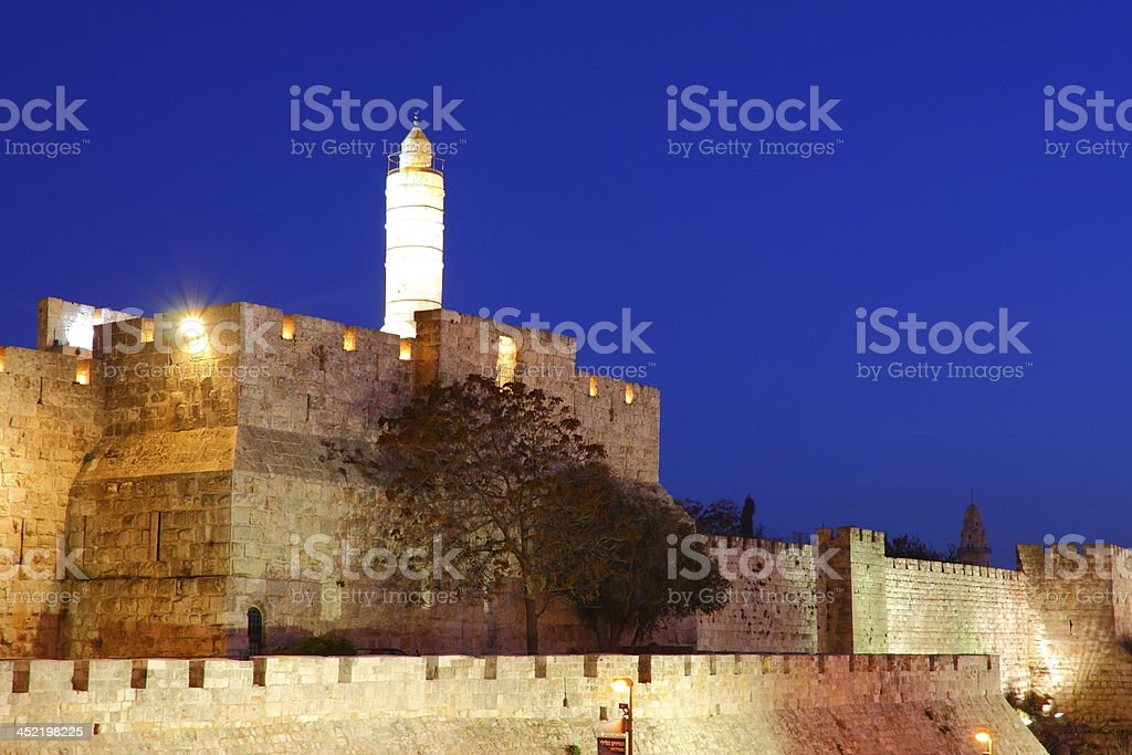 The old city wall of Jerusalem royalty-free stock photo