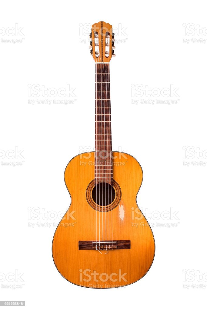 The old classical guitar  on white background. stock photo