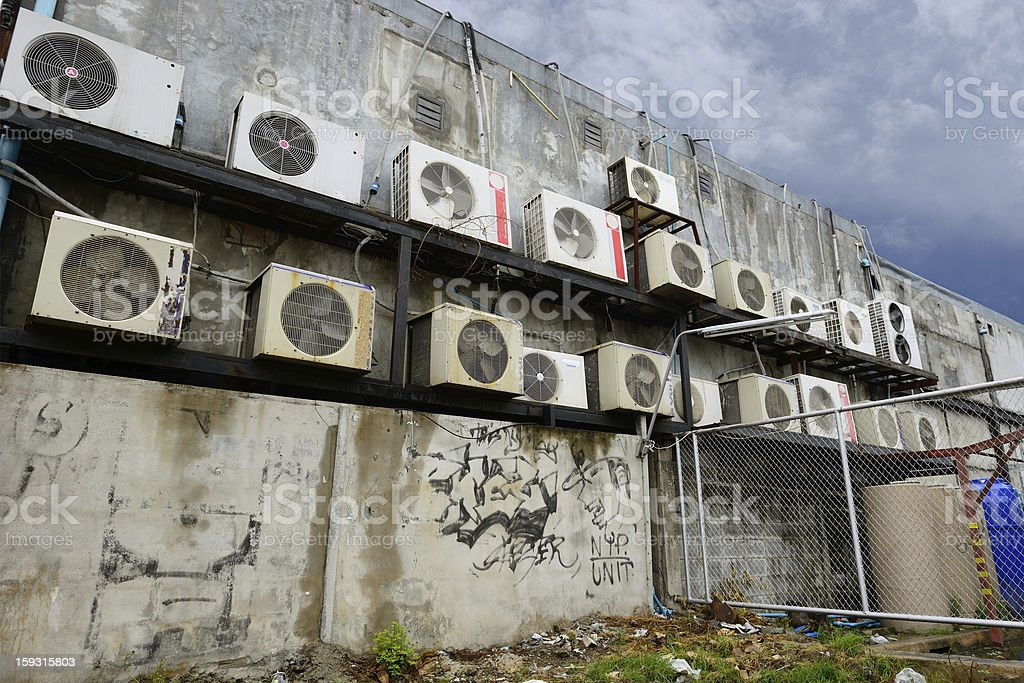 The old compressor of air condition royalty-free stock photo