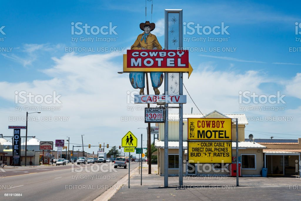 The old Cowboy Motel along the historic Route 66 in the Amarillo, Texas, USA. stock photo