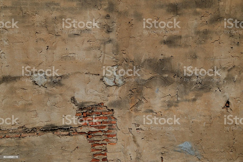 The old cracked wall of the abandoned ruins. stock photo