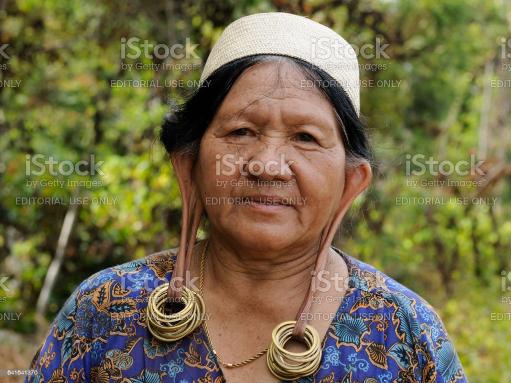 The old Dayak woman stock photo