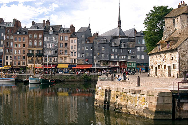 The Old Dock (Vieux Bassin) Honfleur, Normandy, France. The Vieux Bassin where yachts now replace the smugglers' boats one of the most painted harbours in the world. calvados stock pictures, royalty-free photos & images