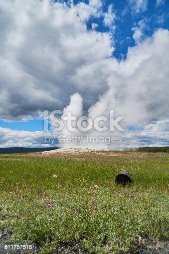 The Old Faithful Geyser in Yellowstone Erupting