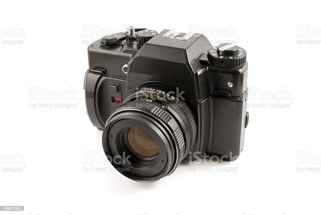 The old film camera on a white background royalty-free stock photo