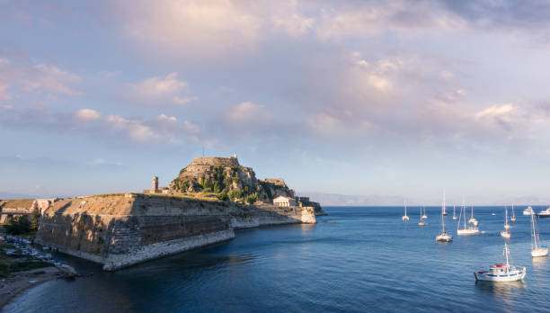 The old fort of Corfu island, Greece, at dusk stock photo