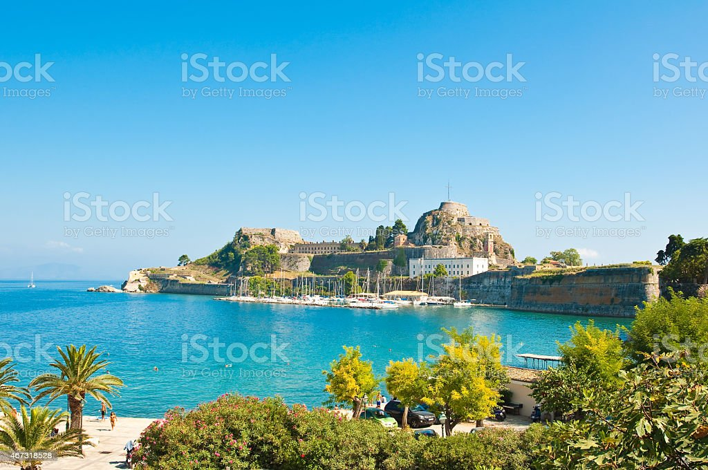 The Old Fortress of Corfu seen from the shore. Greece stock photo