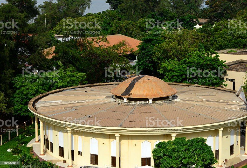 The old Gambian Parliament, Banjul stock photo